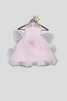 Baby Pink Embroidered Gown by Fayon Kids