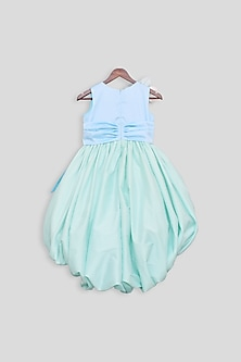 Pastel Blue & Green Gown With Bow by Fayon Kids