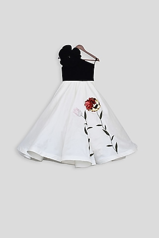 Black & White Embroidered Gown by Fayon Kids