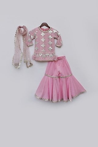 Pink Embellished Sharara Set by Fayon Kids