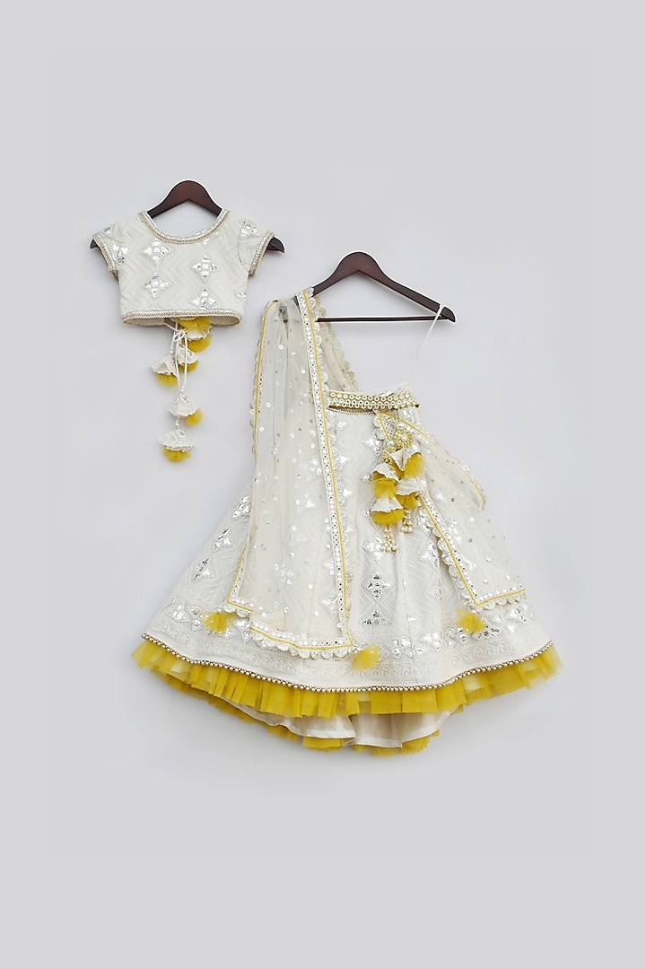 Off White Embroidered Lehenga Set by Fayon Kids