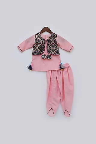 Pink Embroidered Dhoti Set by Fayon Kids