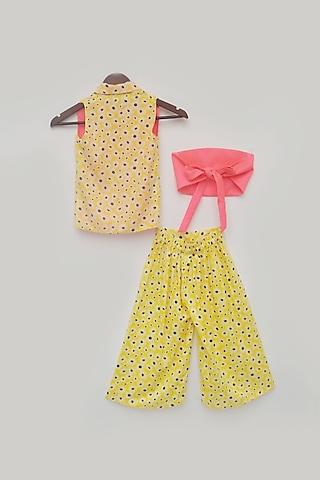 Pink and Yellow Printed Dhoti Set by Fayon Kids