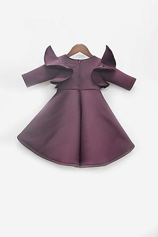 Wine Neoprene Dress With Bow by Fayon Kids