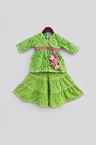 Green Printed Sharara Set by Fayon Kids