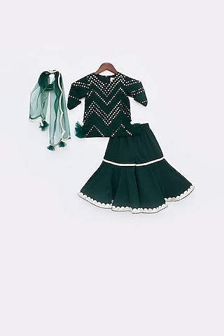 Green Embroidered Sharara Set by Fayon Kids
