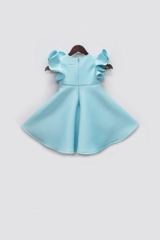 Sky Blue Dress With Golden Bow by Fayon Kids