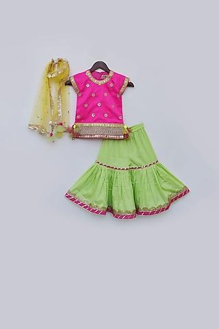 Hot Pink & Green Embellished Sharara set by Fayon Kids