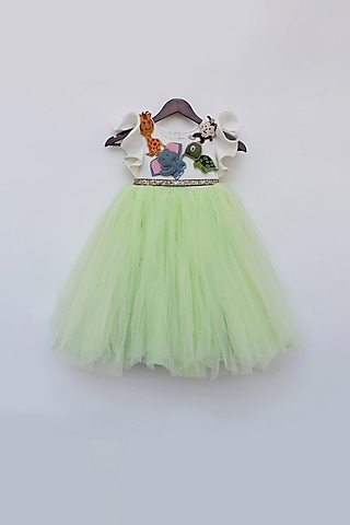 Off White & Green Gown With Belt by Fayon Kids