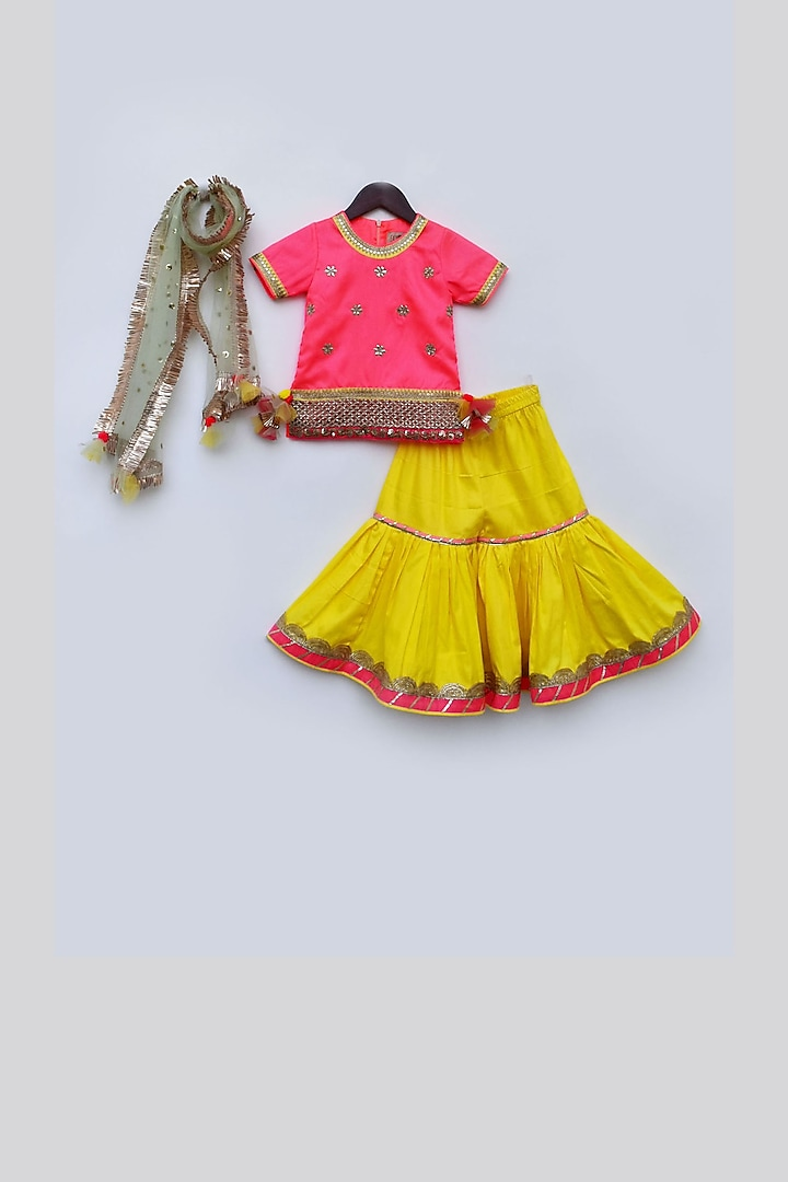 Pink & Yellow Sharara set by Fayon Kids