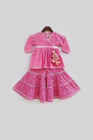 Pink Sharara Set With Embellished by Fayon Kids