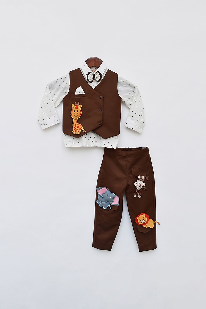 Brown Embroidered Jacket Set by Fayon Kids