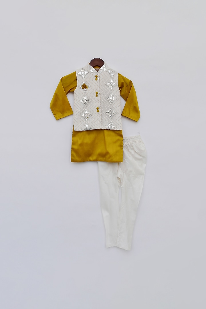 Off White & Yellow Jacket Set by Fayon Kids
