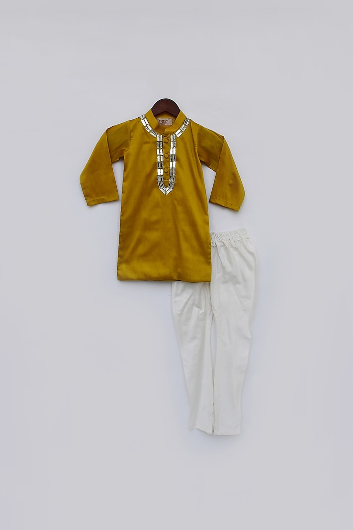 Mustard Yellow Embroidered Kurta Set by Fayon Kids