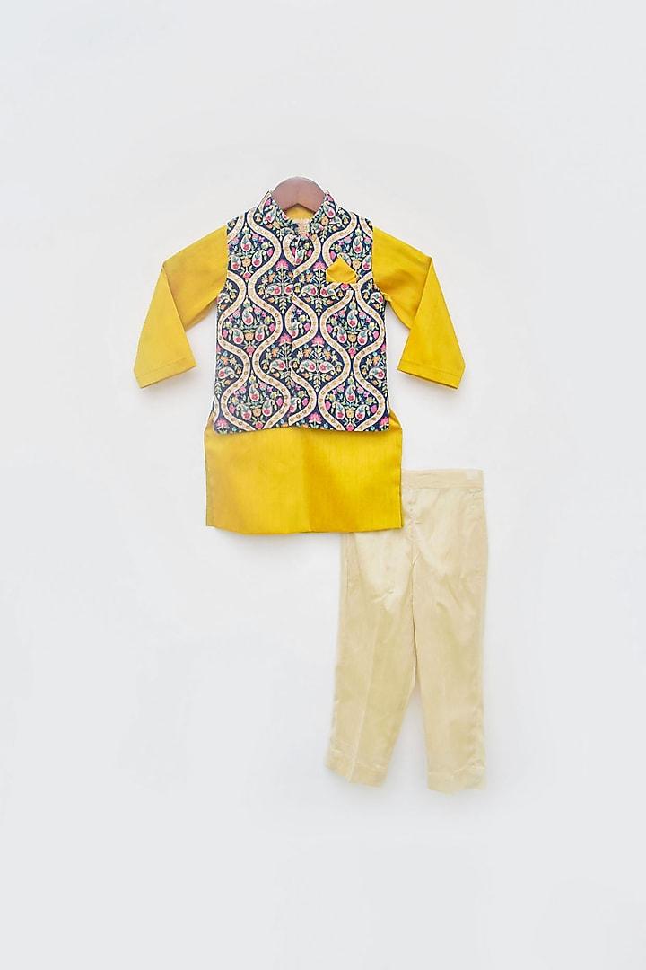 Blue & Yellow Embroidered Jacket Set by Fayon Kids