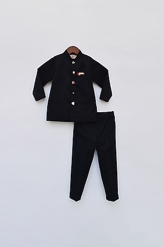 Black Jacket Set With Mirror Embroidered Buttons by Fayon Kids