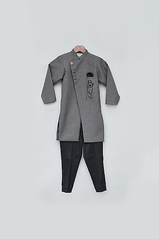 Grey Ajkan Kurta Set by Fayon Kids