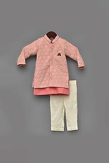 Pink Embroidered Jacket & Kurta Set by Fayon Kids