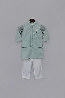 Blue Printed Jacket & Kurta Set by Fayon Kids