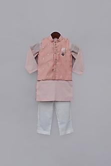Peach Printed Jacket & Kurta Set by Fayon Kids