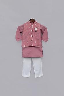 Purple Printed Jacket & Kurta Set by Fayon Kids