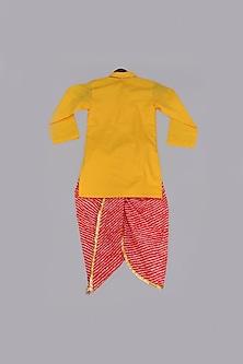 Yellow Kurta With Red Dhoti by Fayon Kids
