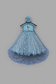 Blue Shimmer Net Gown by Fayon Kids