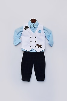White & Blue Printed Waist Coat Set by Fayon Kids