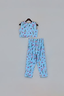 Blue Floral Printed Top With Pants by Fayon Kids