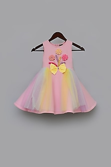 Pink Dress With 3D Detailing by Fayon Kids