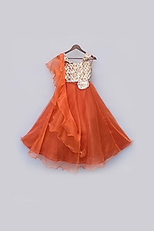 Orange & Gold Sequins Lehenga Set by Fayon Kids