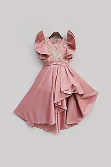 Peach Pearl Embroidered Gown by Fayon Kids