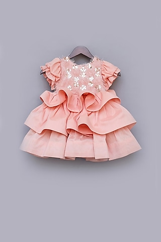 Peach Sequins Embroidered Dress by Fayon Kids