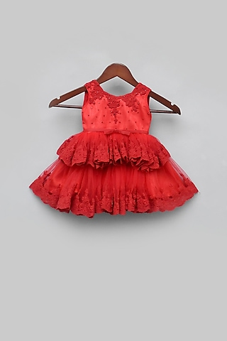 Red Embroidered Dress by Fayon Kids