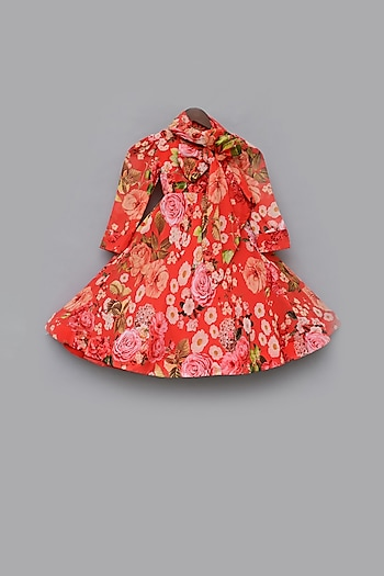 Multi Colored Floral Gown by Fayon Kids