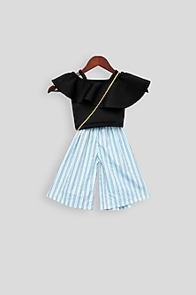 Black Printed Jumpsuit With Sling Bag by Fayon Kids