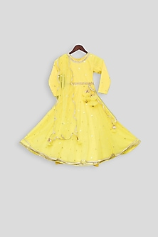 Yellow Embroidered Anarkali Dress With Dupatta by Fayon Kids
