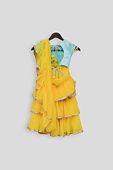 Blue & Yellow Embroidered Lehenga Saree Set by Fayon Kids