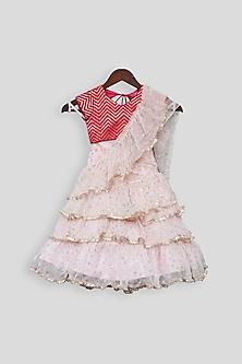 Hot Pink & Blush Pink Embroidered Lehenga Saree by Fayon Kids