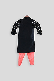 Dark Blue Embroidered Ajkan Set by Fayon Kids