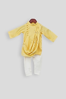 Yellow Embroidered Kurta Set by Fayon Kids