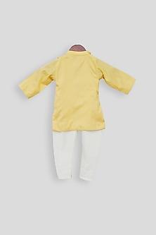 Yellow Embroidered Kurta Set by Fayon Kids