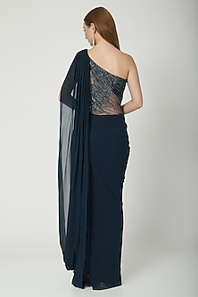 Peacock Blue Embellished Saree Gown by Gaurav Gupta