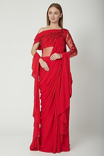 Carmine Red Embellished Saree Gown by Gaurav Gupta