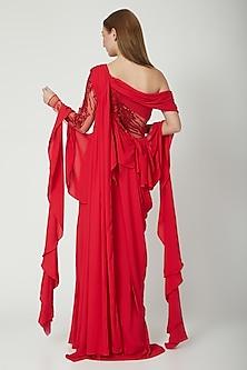 Carmine Red Embellished Saree Gown by Gaurav Gupta