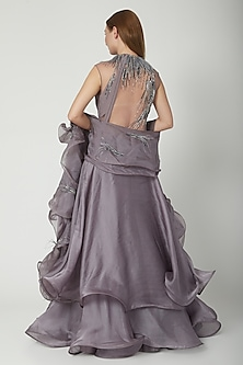 Twilight Grey Embroidered Lehenga Saree Set by Gaurav Gupta