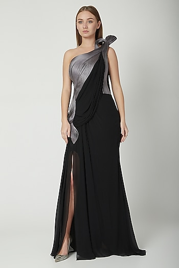 Black With Twilight Grey Saree Gown by Gaurav Gupta
