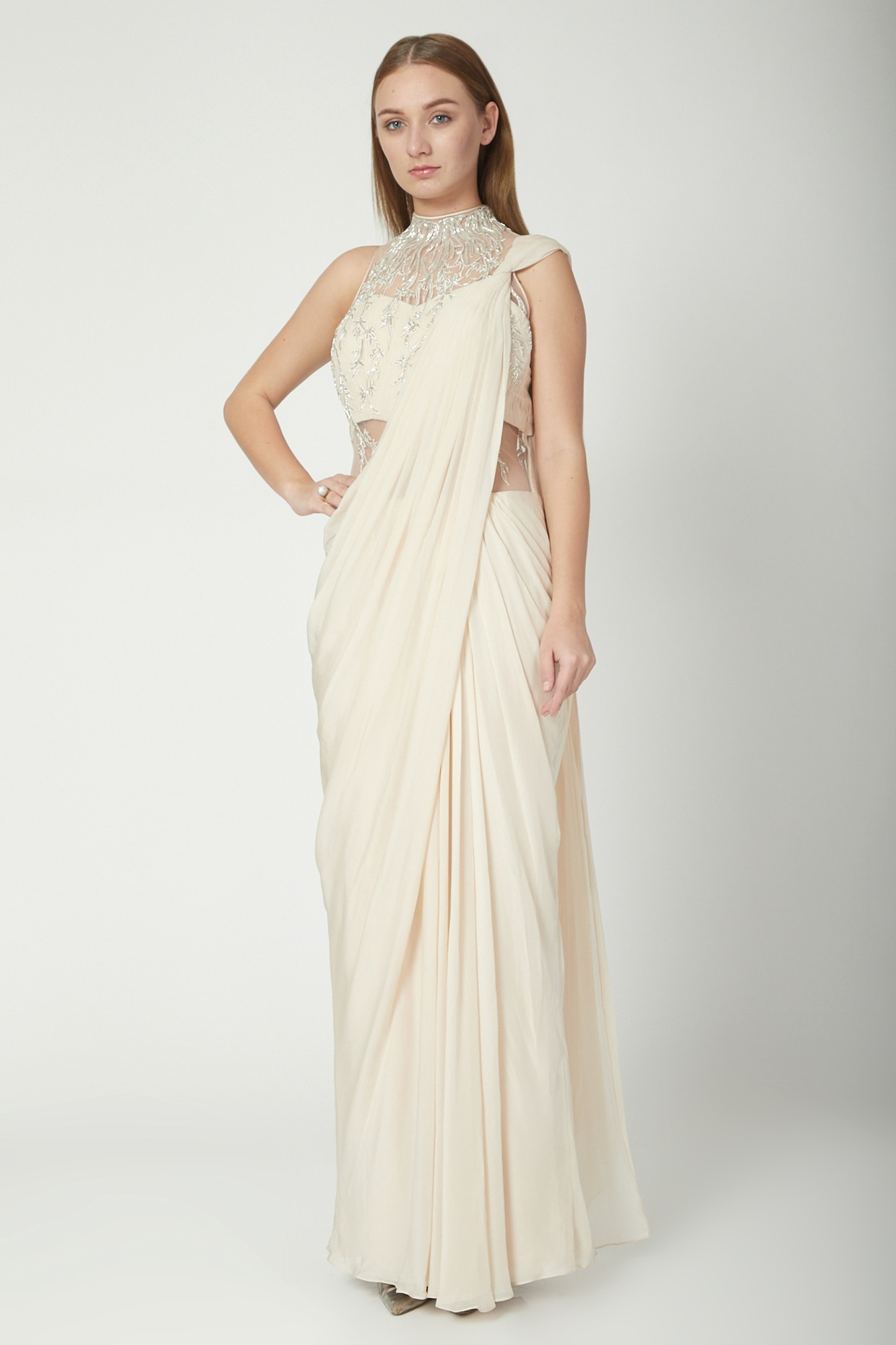 White Embroidered Draped Saree Gown Design By Gaurav Gupta At Pernia S Pop Up Shop