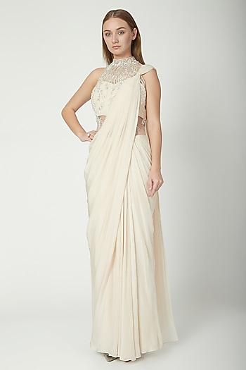 White Embroidered Draped Saree Gown by Gaurav Gupta