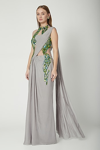Cloud Grey Embroidered Saree Gown by Gaurav Gupta